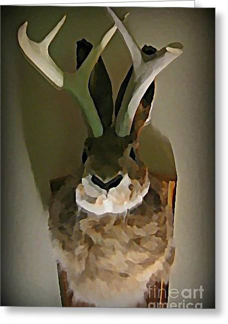 Mounted Jackalope From Vegas Greeting Card by John Malone