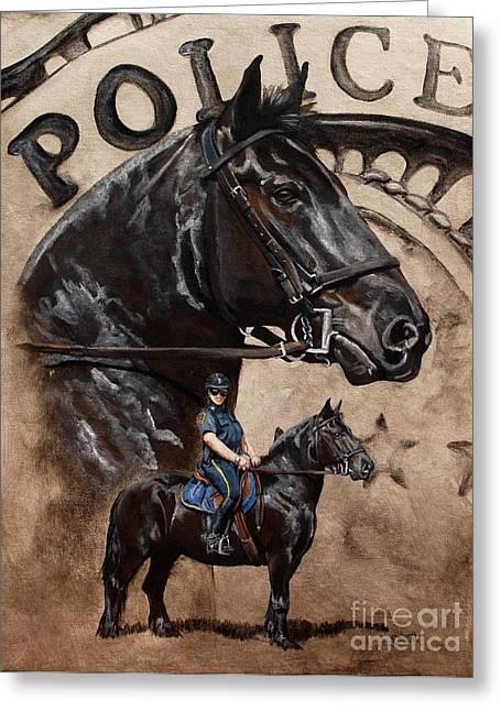 Mounted Patrol Greeting Card by Pat DeLong