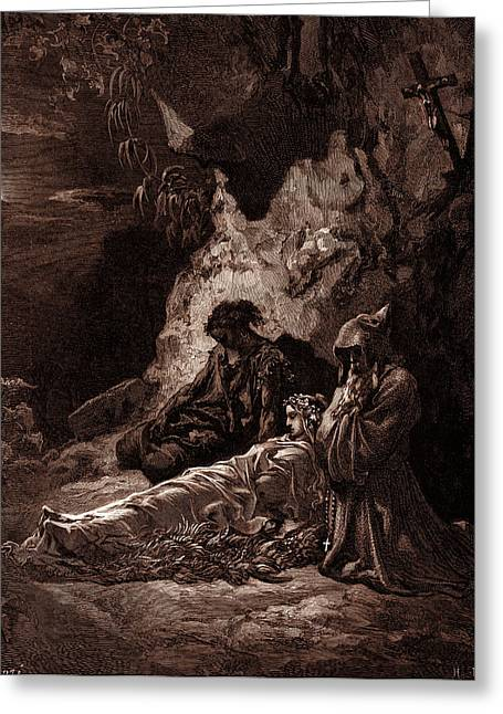 Mourning By Moonlight, By Gustave Dore, 1832 - 1883 Greeting Card