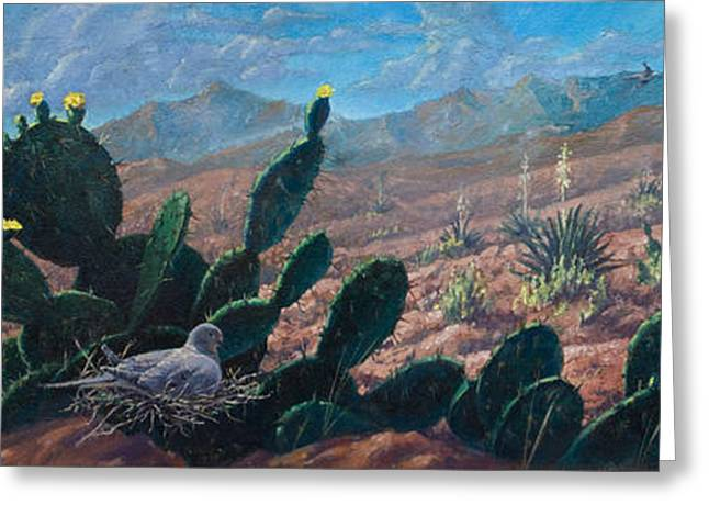 Greeting Card featuring the painting Mourning Dove Desert Sands by Rob Corsetti