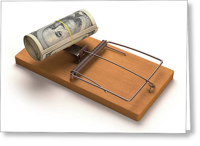 Mouse Trap With Bank Notes Greeting Card by Ktsdesign