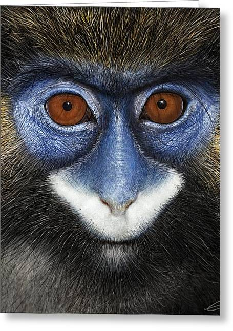 Moustached Guenon 2 Greeting Card by Owen Bell