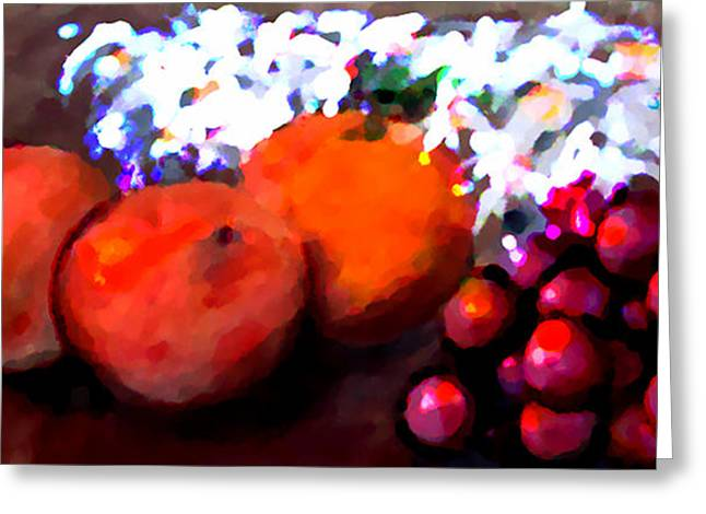Mouth And Peach Greeting Card by Marcello Cicchini
