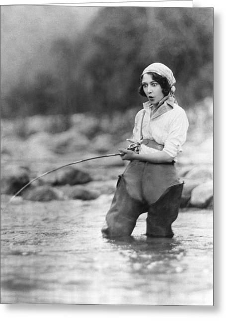 Movie Actress Trout Fishing Greeting Card by Underwood Archives