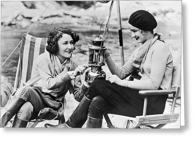 Movie Actresses Camping Greeting Card
