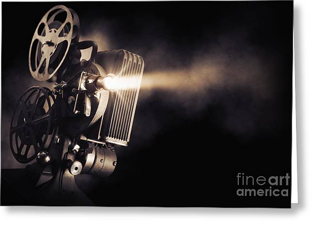 Movie Projector On A Dark Background Greeting Card