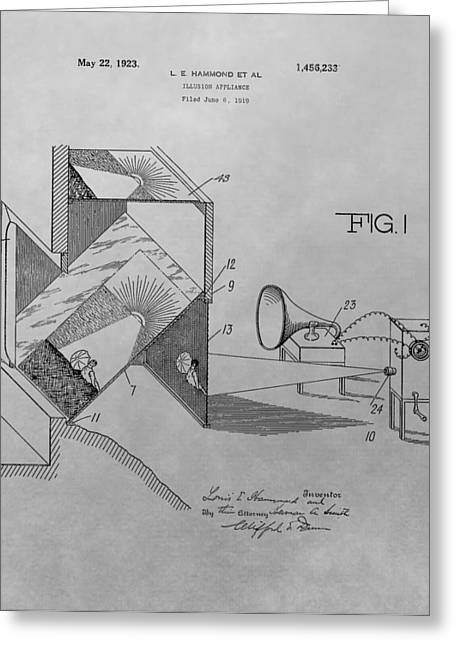 Movie Theater Patent Drawing Greeting Card by Dan Sproul