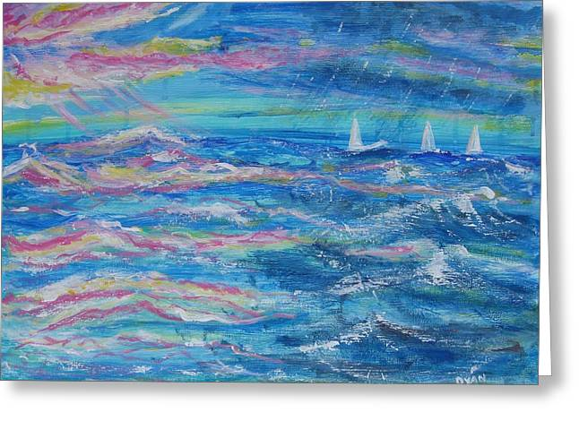 Greeting Card featuring the painting Movin' In by Diane Pape