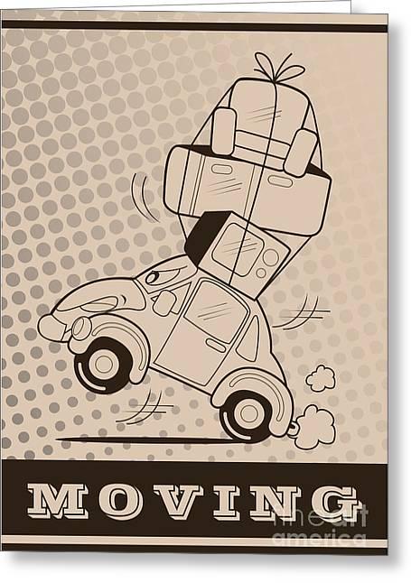 Moving Car Greeting Card by Fun Way Illustration