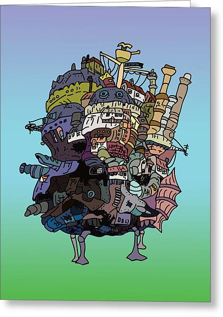 Moving Castle Greeting Card by Jera Sky