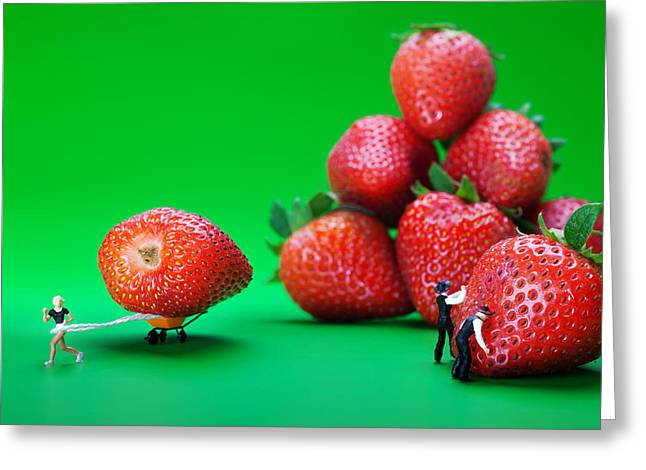Greeting Card featuring the photograph Moving Strawberries To Depict Friction Food Physics by Paul Ge