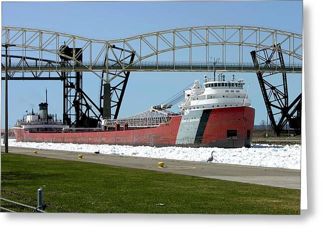 Moving Through The Ice To The Soo Locks Greeting Card