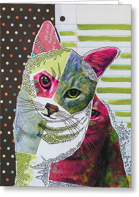 Moxie...abstract Cat Painting Greeting Card