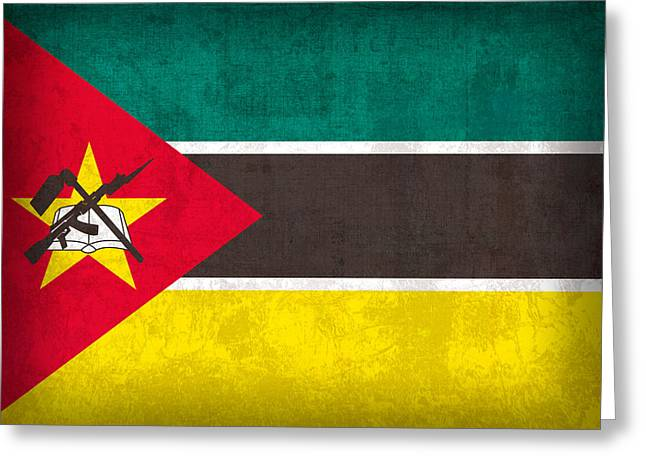 Mozambique Flag Vintage Distressed Finish Greeting Card by Design Turnpike
