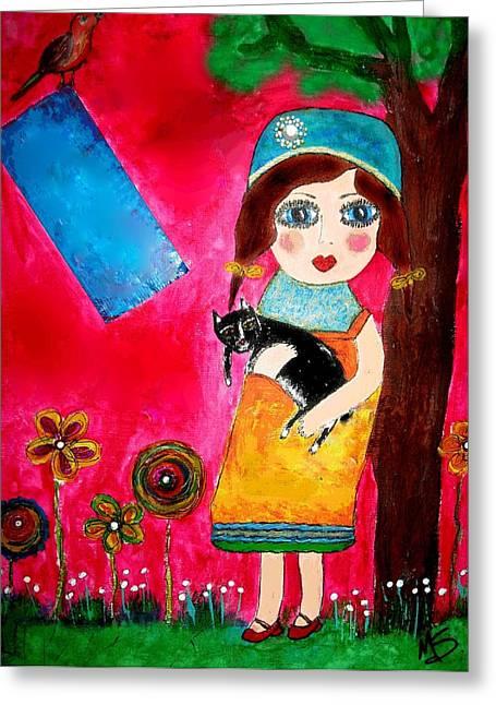 Mprints - My Cat Jack Greeting Card by M  Stuart
