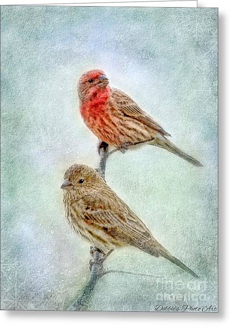 Mr And Mrs House Finch Digital Paint Greeting Card by Debbie Portwood
