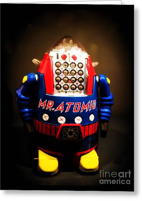 Mr. Atomic Tin Robot Greeting Card by Edward Fielding