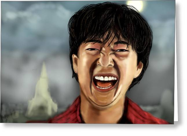 Mr. Chow Hangover Part 2 Greeting Card by Mathieu Lalonde