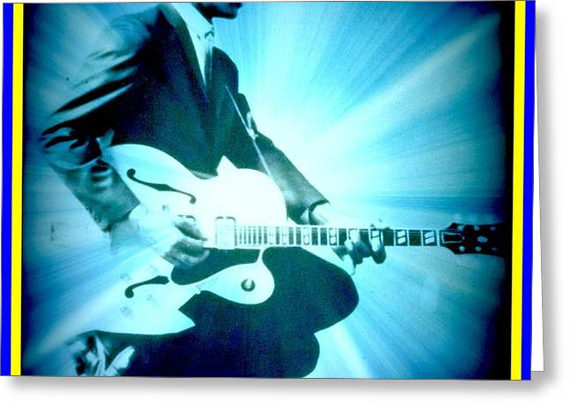 Mr Chuck Berry Blueberry Hill Style Edited Greeting Card by Kelly Awad