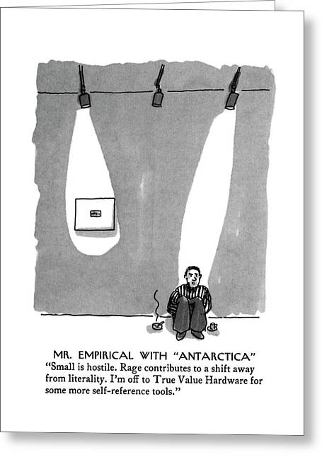 Mr. Empirical With Antarctica Small Is Hostile Greeting Card by Michael Crawfor