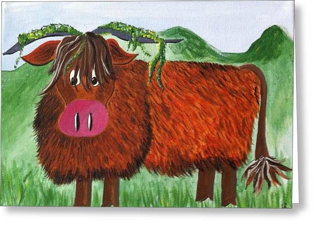 Mr Highland Cow 2 Greeting Card by Kathy Spall