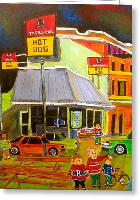 Mr Hot Dog Montreal Memories Greeting Card by Michael Litvack