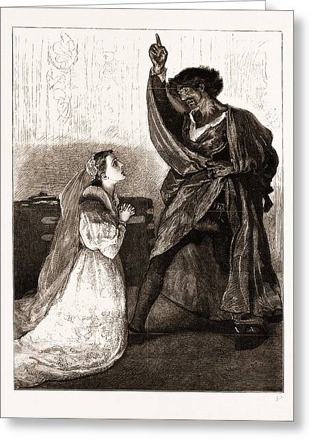 Mr. Irving And Miss Isabel Bateman In Othello At The Lyceum Greeting Card