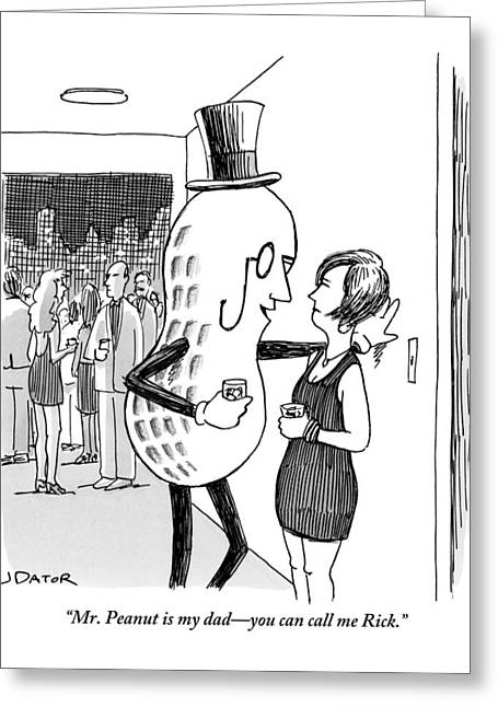 Mr. Peanut Tries To Pick Up A Woman At A Cocktail Greeting Card