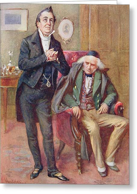 Mr Pecksniff And Old Martin Chuzzlewit, Illustration For Character Sketches From Dickens Compiled Greeting Card by Harold Copping