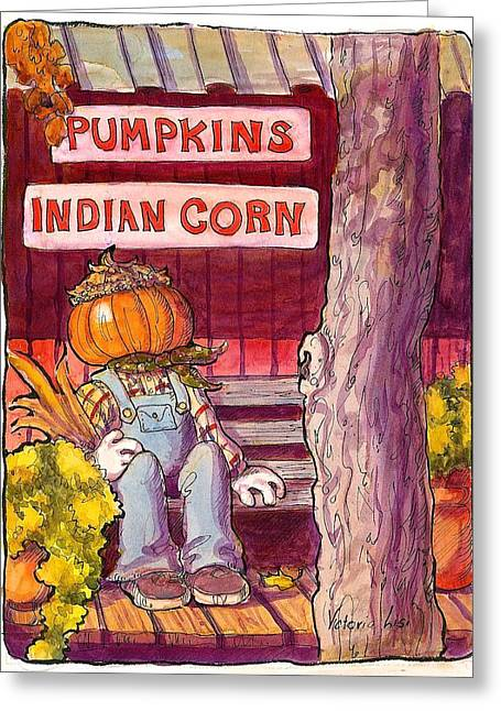Mr. Pumpkin Greeting Card by Victoria Lisi