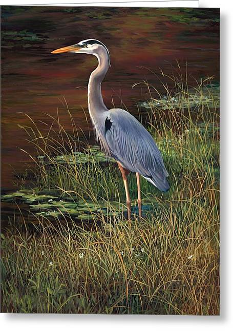 Mrs Blue Heron Greeting Card by Laurie Hein