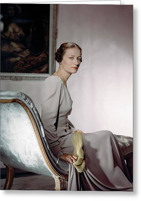Mrs. Cameron Clark Sitting On A Chaise Lounge Greeting Card by Horst P. Horst