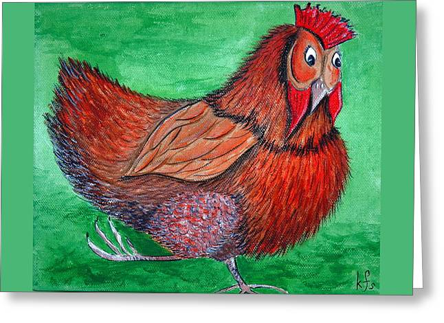 Mrs Chicken Greeting Card by Kathy Spall