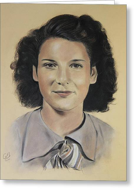 Greeting Card featuring the painting Mrs Crye by Glenn Beasley