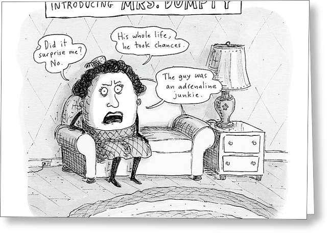Mrs. Dumpty Sits On A Couch In Living Room Greeting Card