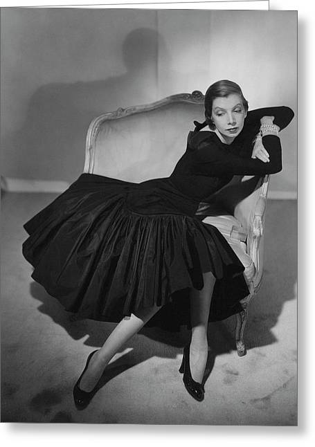 Mrs. Fairfax Potter Wearing A Taffeta Dress Greeting Card by Horst P. Horst