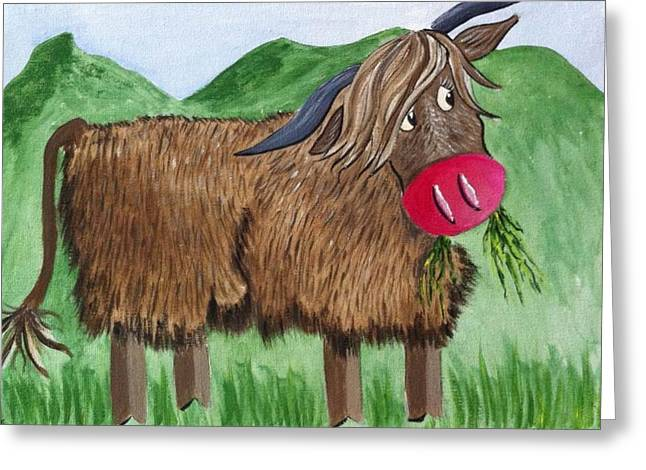 Mrs Highland Cow 2 Greeting Card by Kathy Spall