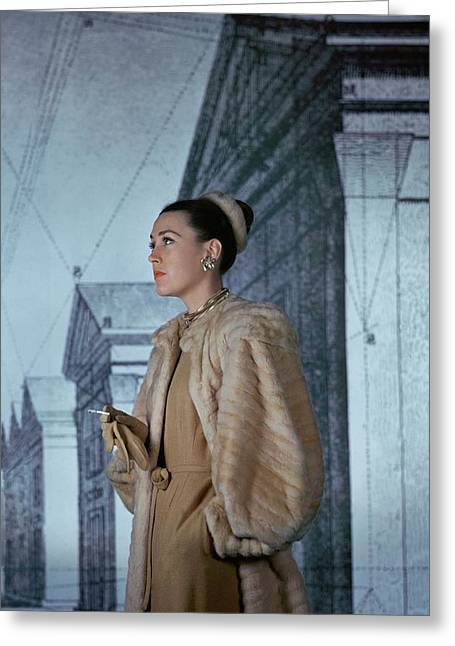 Mrs. Hugh Chisholm Wearing A Fur Coat Greeting Card by John Rawlings