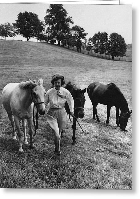 Mrs John West On Her Farm At Malvern Greeting Card by Toni Frissell