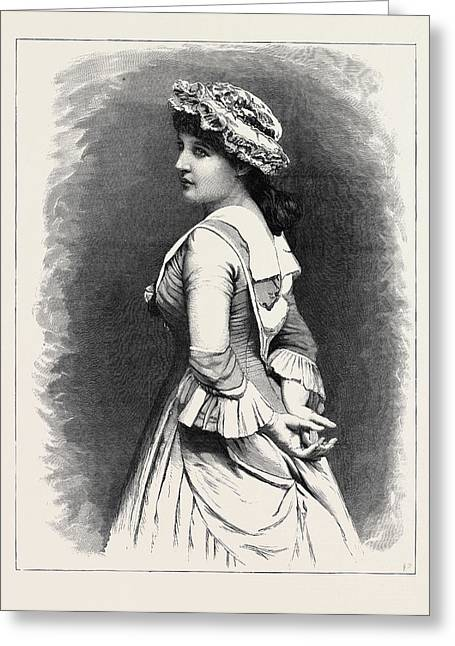 Mrs. Langtry As Miss Hardcastle In She Stoops To Conquer Greeting Card