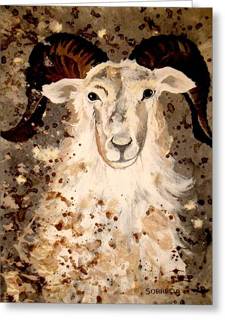 Greeting Card featuring the painting Powell Mountain Goat by Amy Sorrell
