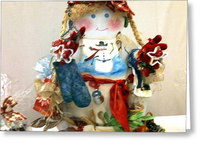 Mrs. Snowman Cooks Greeting Card by Martha Nelson