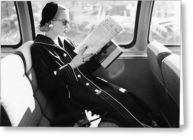 Mrs. William Mcmanus Reading On A Train Greeting Card by  Leombruno-Bodi