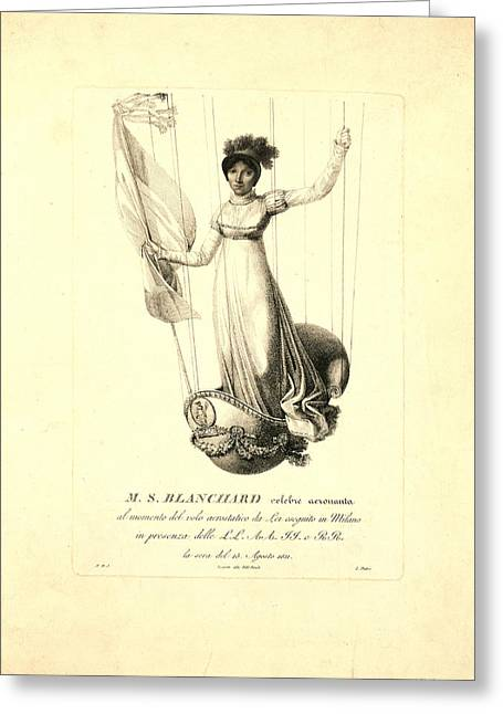 M.s. Blanchard,  Madeleine Sophie Armand French Aeronaut Greeting Card by Litz Collection
