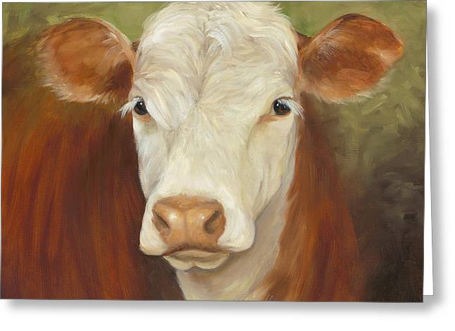 Ms Sophie - Cow Painting Greeting Card by Cheri Wollenberg