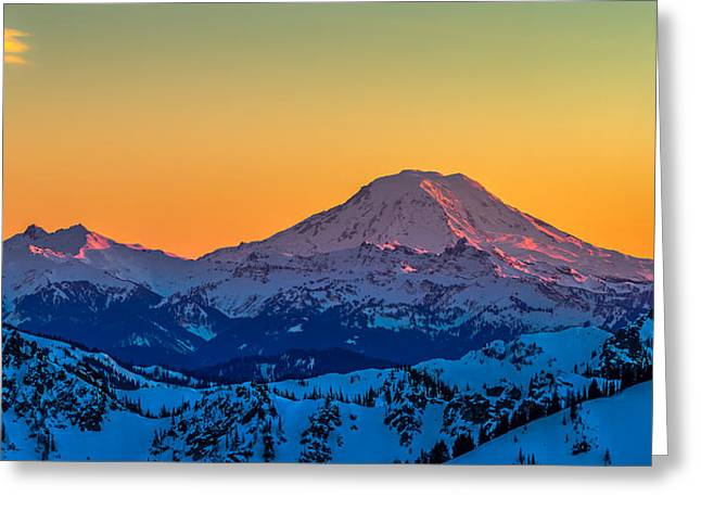 Mt Adams Sunset Review-2 Greeting Card by Ken Stanback