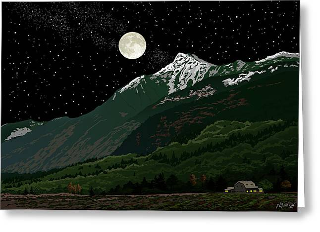 Mt Cheam In Moonlight Greeting Card