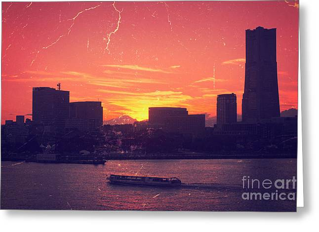 Mt Fuji At Sunset Over Yokohama Bay Greeting Card