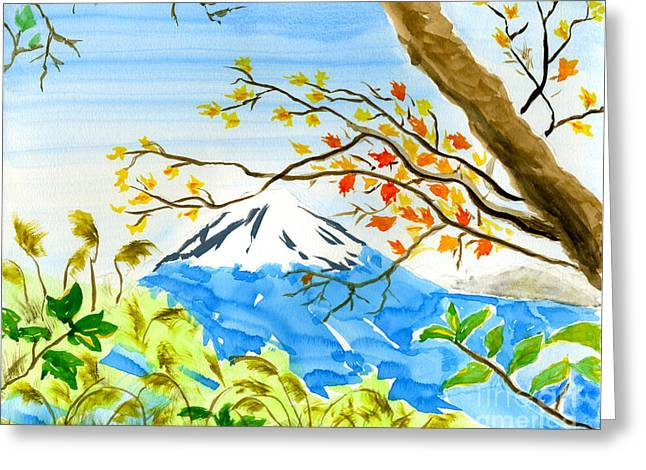Mt Fuji From Koyodai In Autumn Greeting Card by Beverly Claire Kaiya