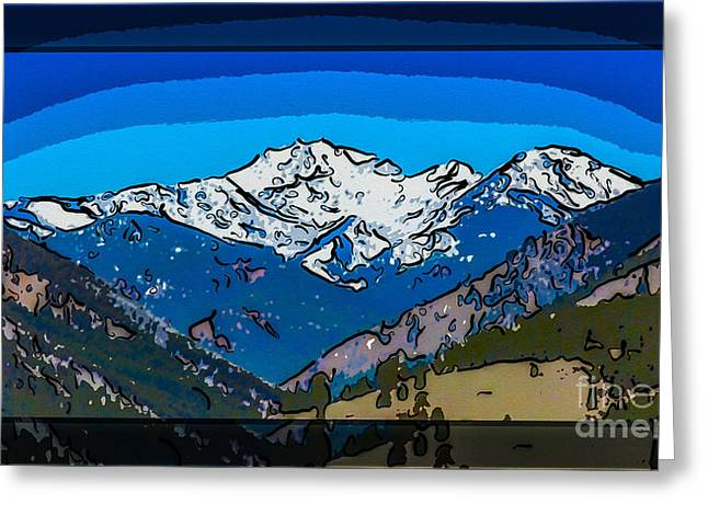 Mt Gardner In The Spring Abstract Painting  Greeting Card by Omaste Witkowski